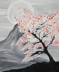 Painting of a cherry blossom tree and mountain behind it