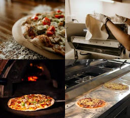 Four stages of woodfired pizza making