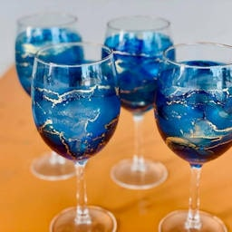 Sip 'n' Dip Alcohol Ink Wine Glasses